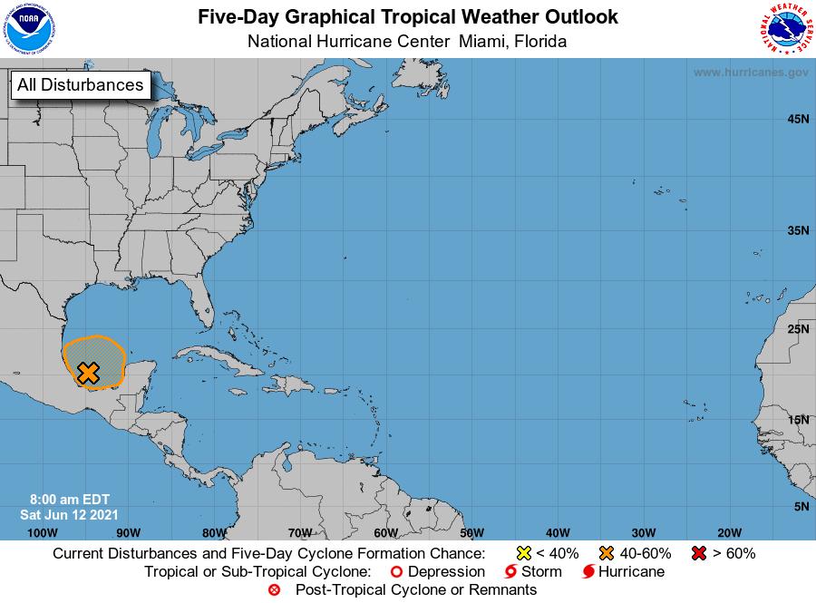 Clima: 40% de probabilidad de desarrollo ciclónico en el Golfo de México.
